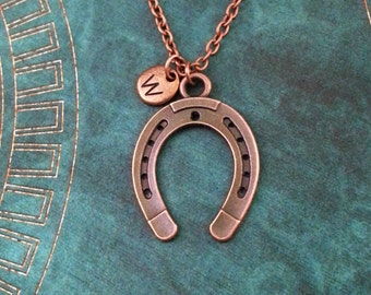 Horseshoe Necklace Copper Horseshoe Jewelry Horse Shoe Necklace Horse Necklace Horse Jewelry Lucky Necklace Lucky Jewelry Equestrian Gift