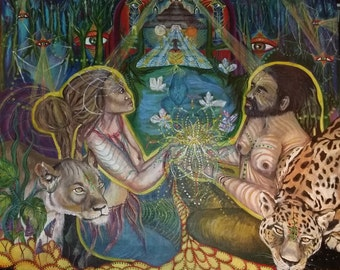 Lion meets jaguar-impossible becomes possible..true story*,art print ,visionary art,sacred geometry,spiritual