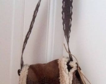 imitation leather/Shearling fabric shoulder bag
