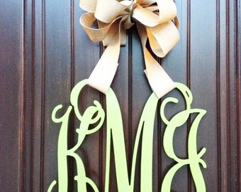 26 INCH Wooden monogram, Wall Letters, Wedding Decor, Home Decor Wood Monogram, Unpainted vine monogram