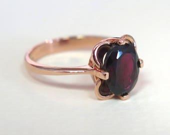 14K Gold Ring, Red Garnet Ring, Vintage Ring, January Birthstone, Rose Gold Garnet, Garnet Jewelry, Garnet Ring, Birthstone Ring