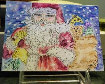 "Santa in a snowstorm,  Christmas  card, original art ,water color  card. 5"" by 7"" Santa Claus art, Christmas art, hand-painted card"
