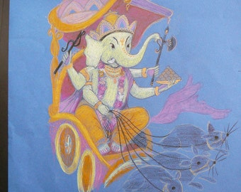 elephant god india on his chariot remover of obstacles syamarts original drawing