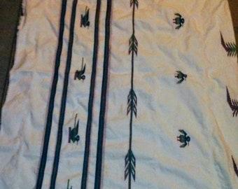 Beautiful Big Vintage Rectangle Native American Eagle Tabecloth