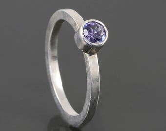 Alexandrite Stacking Ring. Sterling Silver. June Birthstone. Simulated Gemstone. Ready to Ship. Size 4. s17r022