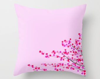 Pink Cherry Blossom throw pillow cover-Japanese flowers-Floor pillow-Valentines gift-Floral 16x16-18x18-20x20-Cool gifts-Modern pillow