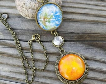 Earth sun moon necklace. Solar eclipse necklace, hand painted, watercolor, wearable art, Earth moon and sun pendant  necklace, one of a kind