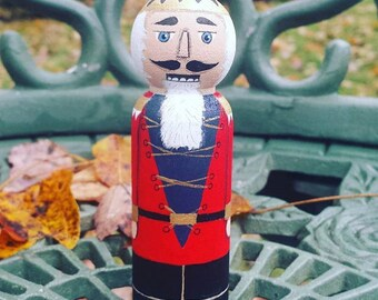 Hand Painted Christmas ornament, Nutcracker, Rustic Decoration, Christmas Peg Dolls, Chrismas Decoration