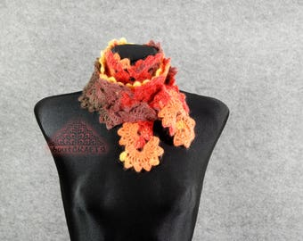 Spring scarf crochet, Spring scarf ideas, Boho scarf fall, Neckwarmers, Crocheted lace scarf, Neck warmer, Crochet Scarf, Mothers day gift