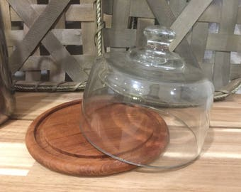 Teakwood cheese tray with glass dome, by Dolphin