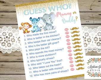 GUESS WHO Mommy or Daddy Baby Shower GAME, Safari Theme Baby Shower, Printable Baby Shower Game, Boy Safari Baby Shower, Instant Download