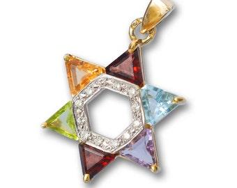Multicolored 14k Gold Star of David Pendant with Diamonds and Semi-Precious Stones