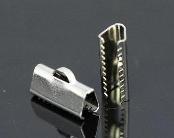 ribbon crimp end, 30 pcs 6x14 mm nickel plated ribbon crimp ends, ribbon crimp ends cap, with loop findings N123 1780