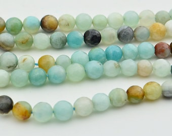 15.5  Inch Full Strand   Amazonite  Faceted 6MM  Round  Bead