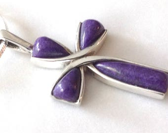 Charoite Cross Purple Pendant Sterling Silver on a black leather cord.