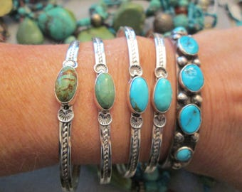 Navajo Handcrafted Sterling & Genuine Turquoise Cuff Bracelets>Narrow>Nice Roping> Vibrant Colors>>New old Stock  -JNB067