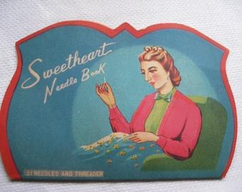 1940s Sweetheart SEWING NEEDLE BOOK, needlebooks, sewing needle books, sewing needles, 40s needlebooks, sweetheart needlebook, sewing needle