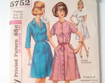 Sewing Pattern Simplicity 5752 Retro Size 40 Bust 42 Dress Style 60s Uncut