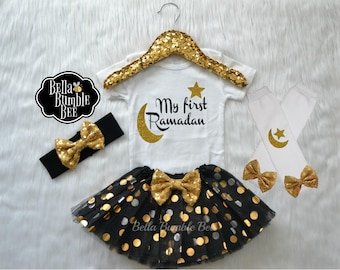 Baby Girl or Boy Black and Gold My First Ramadan bodysuit, Leg warmer tutu headband outfit for Islamic holy month, star moon 322