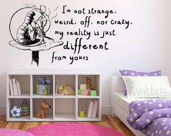 Wall Sticker Decals Alice In Wonderland Cartoon Rabbit Tea Time Cheshire Cat Girl Nursery Bedroom 1376b