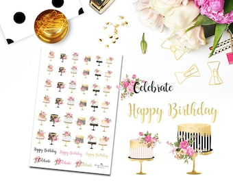 Birthday Cake Planner Stickers for use with Erin Condren  Planner/Happy Planner Stickers/Horizontal Sticker Set/Wedding Cake/Personal