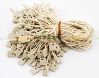 1000pcs Cotton Beige Hang Tag String Square Lock Fasteners Loop Lock Clothing Supplies