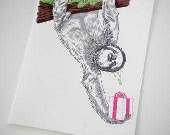 SALE - Birthday Sloth greeting card - 50% off