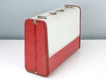 Vintage Red Tweed Suitcase, Tweed Suitcase, Old Suitcase, Antique Luggage, Photo Props, Movie Props