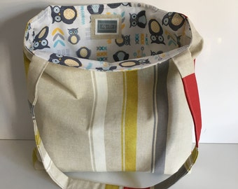 Beige, White, Mustard and Red Stripe Tote Bag