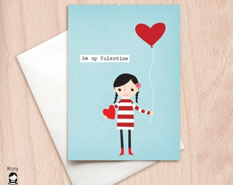 Love is in the Air Girl - Be My Valentine - Love Card - Happy Valentine Greeting Card, Girl Valentine, Sweet Valentine Card, Valentine's Day