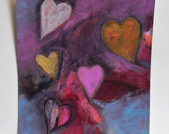 FIVE HEARTS Abstract Art, Original Acrylic Charcoal Painting Art Paper 7X6 inches