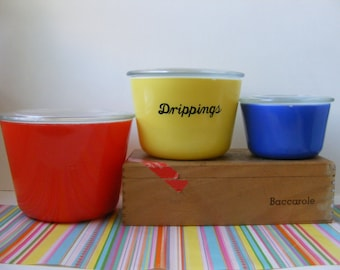 Vintage Rare HTF McKee Canister Set, Lids, Primary Colors Red Yellow Blue, McKee Refrigerator Dishes, McKee Nesting Bowls, Set of 3, 1940s