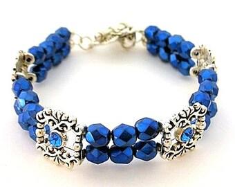 Deep blue bracelet, Czech glass and crystal spacers, double strand sapphire blue bracelet