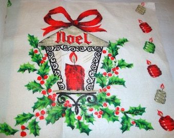Vintage Linen Christmas Place Mats, Noel Placemats, Holiday Kitchen Decor, Set of 6  (315-13)