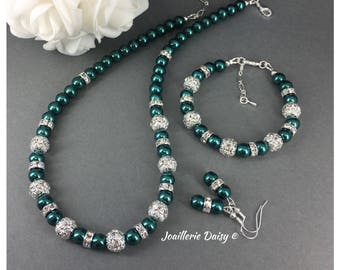 Christmas Jewelry Set Dark Green Necklace Christmas Gift Idea Pearl Necklace Winter Wedding Gift for Mother Bridesmaid Jewelry Gift for Her