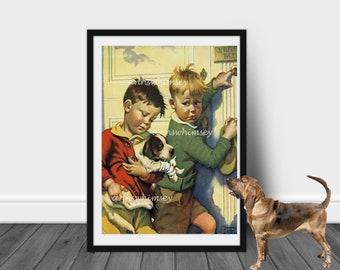 Boy's Room Art, Boys and Dog Art, Little Boy's Room Art, Boy's nursery art. Family Room Art, Guest Room Art, Bedroom Art  #54