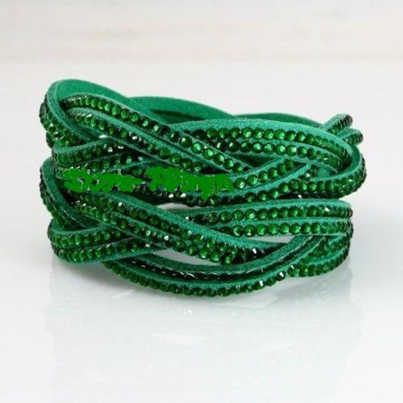 Lovely green  leather   rhinestone entwined wrap bracelet or choker necklace