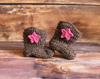 Cowboy Boots and Removable Stars - cowgirl boots knit cowboy boots crochet cowboy baby child toddler infant newborn matching hat boots