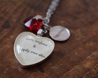 Happily ever after quote literary style necklace