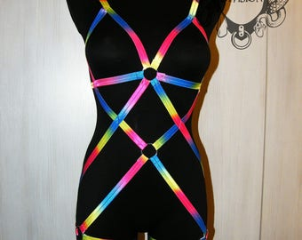 Rainbow Elastic Body Harness Multicolor Harness Bondage