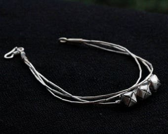 Handmade Silver Bracelet with Woven Silver Cubes (B0006)