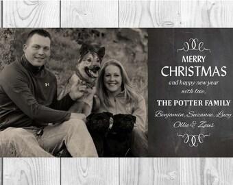 Personalized Christmas Chalkboard Card (8x4): Digital File
