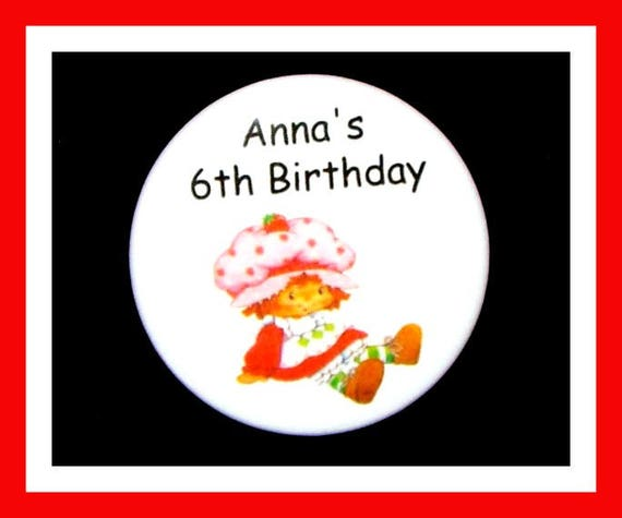Birthday Party Favor Personalized Button, StrawberryPin Favor,School Favor,Kid Party Favor,Boy Birthday,Girl BirthdayPin,Favor Tag Set of 10