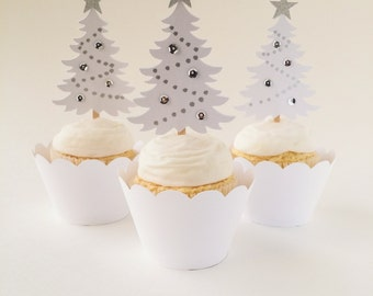 Christmas Tree Cupcake Toppers - Pearl White/Silver - Christmas/Holiday Cupcake Picks - Set of 12 - Ready to Ship