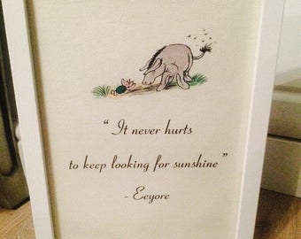 Disney Winnie The Pooh Eeyore Inspirational Life Quote A4 Print Picture Poster Art Unframed Gift Birthday Nursery Christening Christmas
