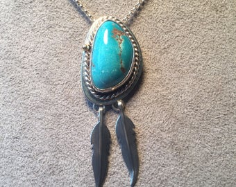 Two Feathers turquoise & Sterling pendant