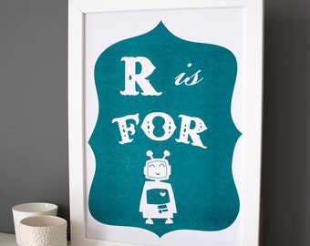 R is for Robot alphabet print