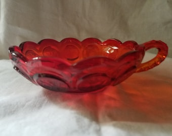 Vintage Fosteria Ruby Red Coin Glass Candy  Dish