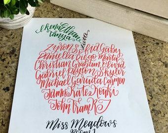 Calligraphy Teacher Gift 8x10, Teacher Appreciation