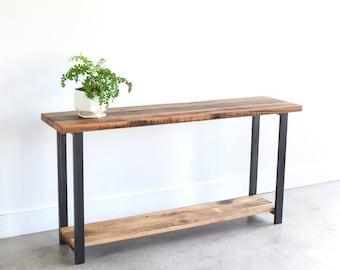 Reclaimed Wood Console Table with Lower Shelf / Entryway Table / Sofa Table